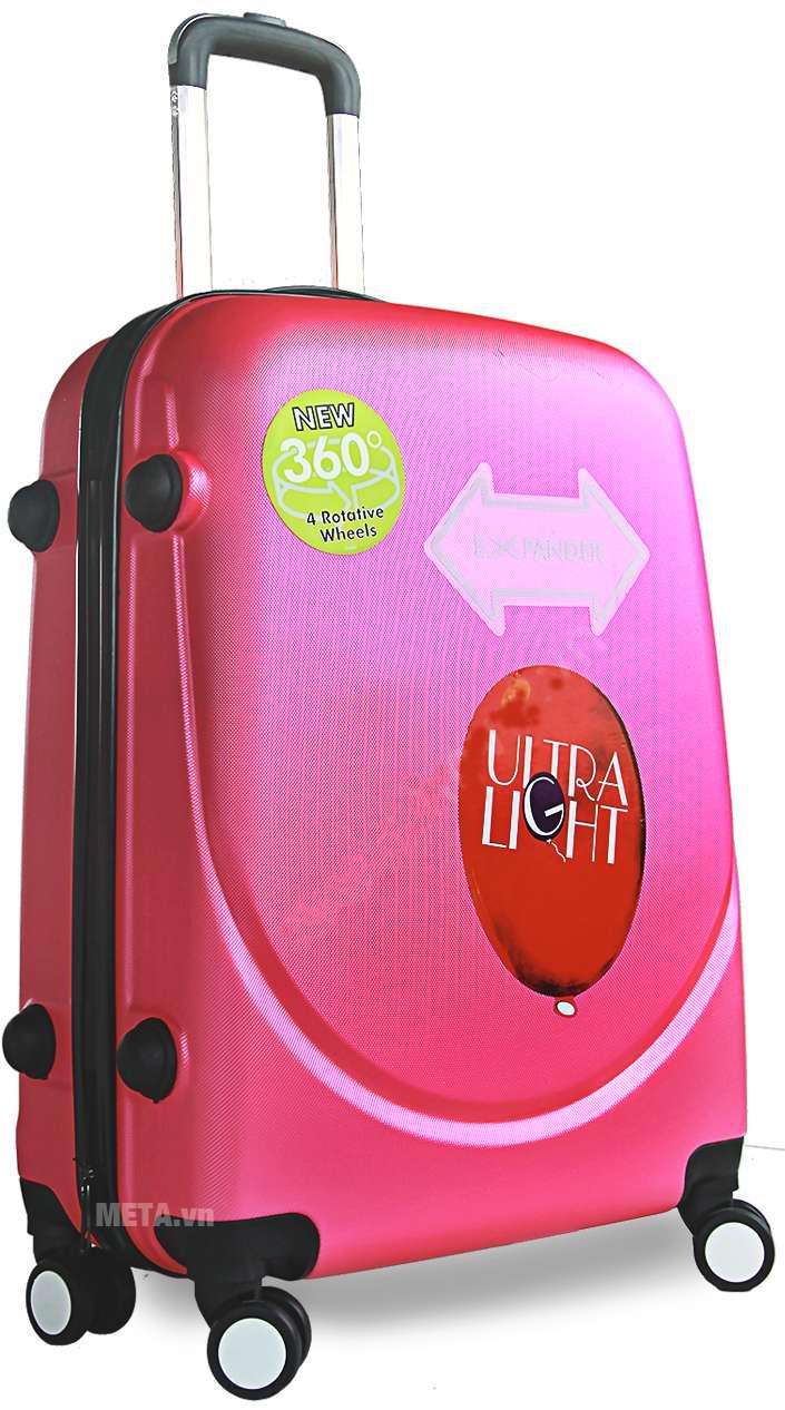 Vali nhựa ABS 360 20 inch màu hồng.