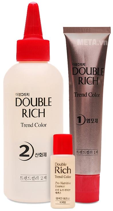 Thuốc nhuộm tóc Double Rich nâu ánh cam cá tính 8O với 3 lọ dung dịch nhuộm.