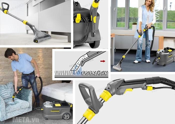 Máy giặt thảm Karcher PUZZI 10/1 EU giúp vệ sinh ghế, thảm trên nhiều bề mặt vật liệu khác nhau.