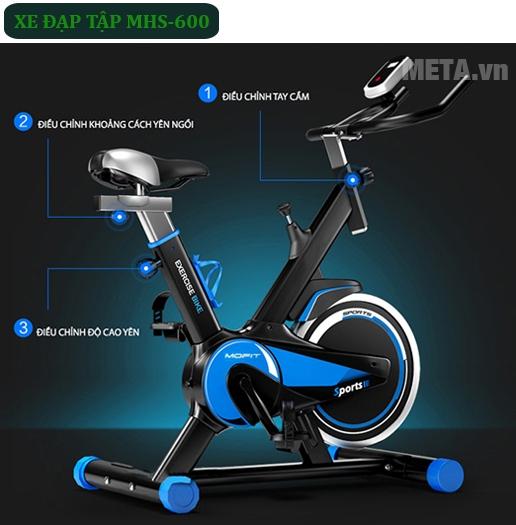 Xe đạp tập Mofit MHS 600 với thiết kế hiện đại, tiện dụng.