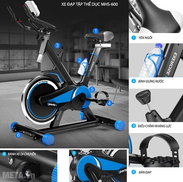 Xe đạp tập Mofit MHS 600 với thiết kế ưu việt.
