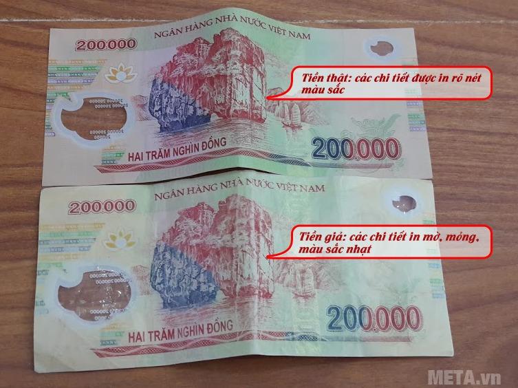 Tờ tiền polyme mệnh giá 200.000 giả thiết kế các chi tiết không sắc nét.