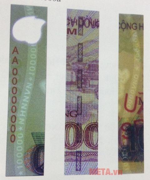 Tiền thật có dây bảo hiểm nhìn rõ từ hai mặt.