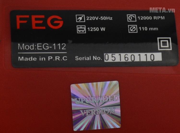 Máy cắt gạch FEG EG-112 với thông số của máy.