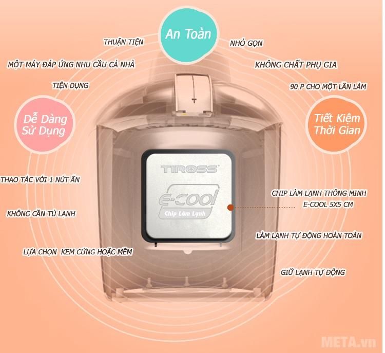Máy làm kem Tiross TS-9090 làm kem mà không cần tủ lạnh.