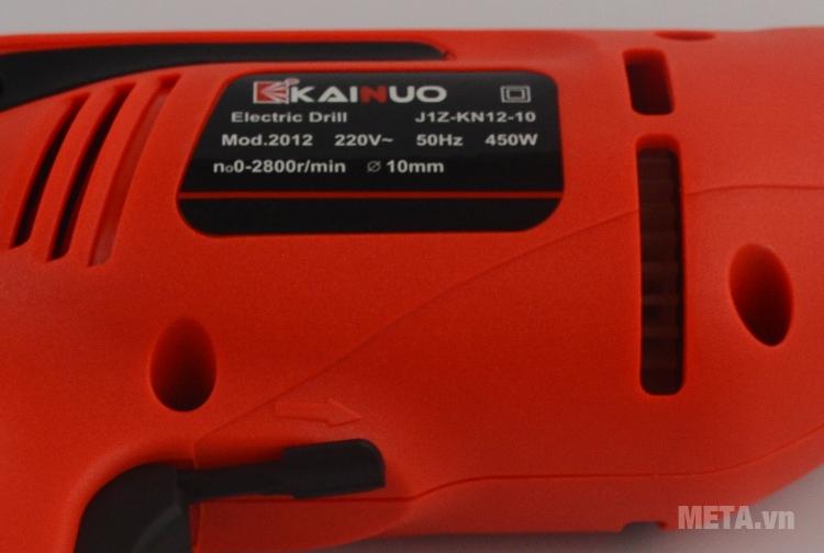 Máy khoan Kainuo 2012 450W in thông số trên thân máy