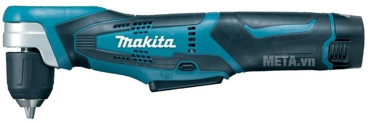 Máy khoan góc chạy pin Makita DA331DWE thiết kế dáng thuôn dài dễ cầm.