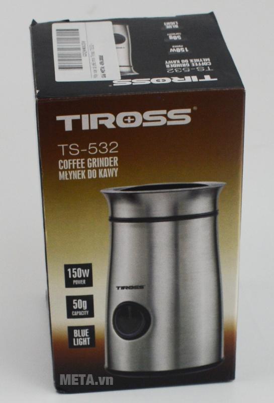 Máy xay cà phê mini Tiross TS532 được đóng gói với bao bì sang trọng.