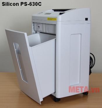 Máy hủy tài liệu Silicon PS-630C dễ tháo thùng rác để vệ sinh.