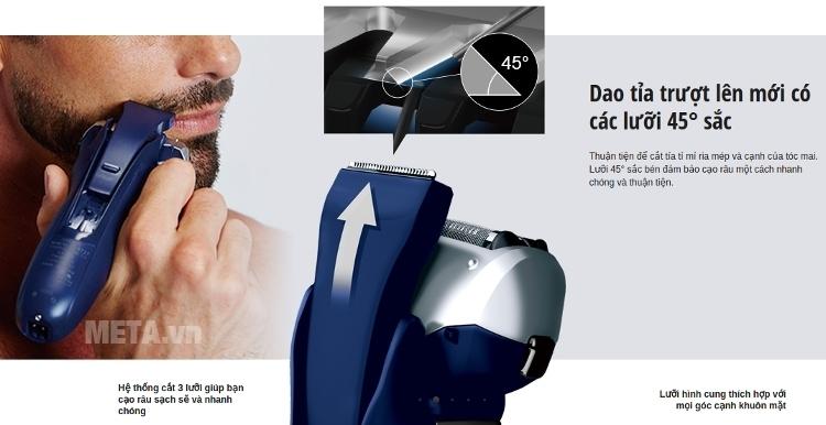 Máy cạo râu Panasonic ES-RT36 trang bị tông đơ tỉa tóc mai và ria mép.