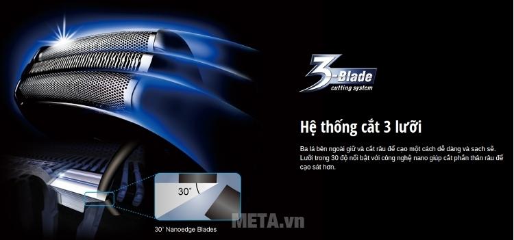 Máy cạo râu Panasonic ES-SL10 có hệ thống dao cắt 3 lưỡi.