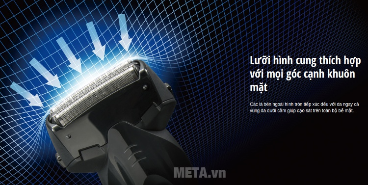 Máy cạo râu Panasonic ES-SL10 có lưỡi dao hình cung.