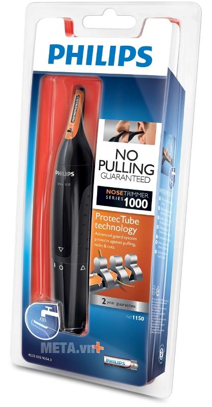 Máy tỉa lông mũi Philips NT1150 có hộp đựng sang trọng.