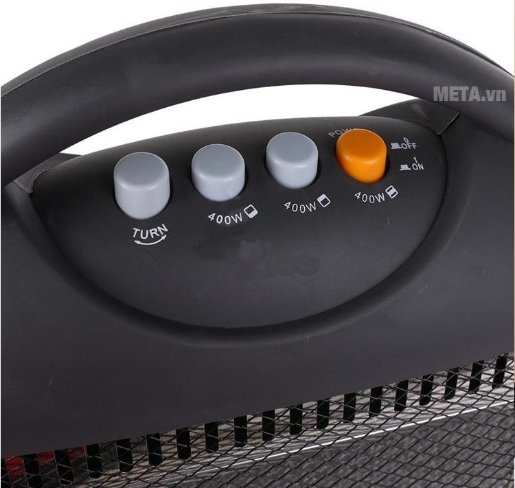 Đèn sưởi Halogen Kangaroo KG1011C với thiết kế nút điều chỉnh chế độ.
