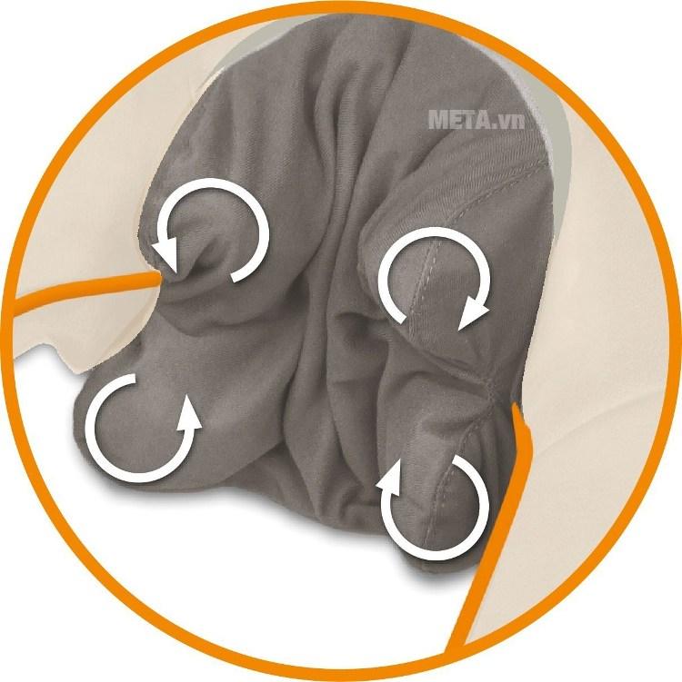 Máy massage Medisana hoạt động với cơ chế xoay đa chiều.