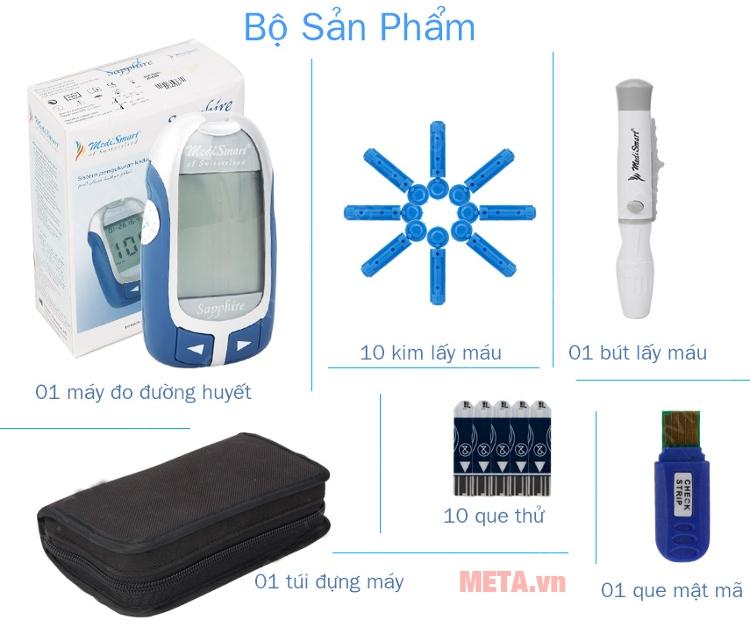 Bộ sản phẩm máy đo đường huyết MediSmart Sapphire