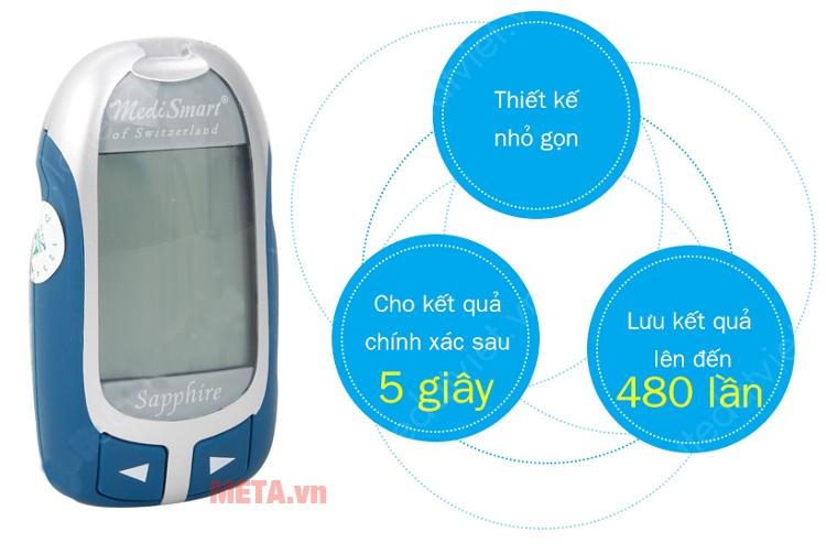 Máy đo đường huyết MediSmart Sapphire có màn hình LCD lớn