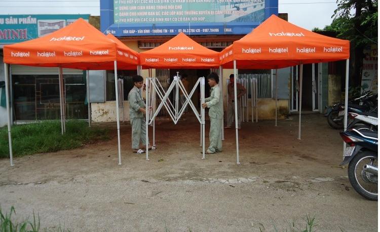 Nhà bạt di động 2m x 2m có bạt mái màu cam