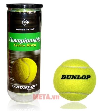 Bóng tennis Dunlop Championship Extra Duty có màu vàng chanh bắt mắt.