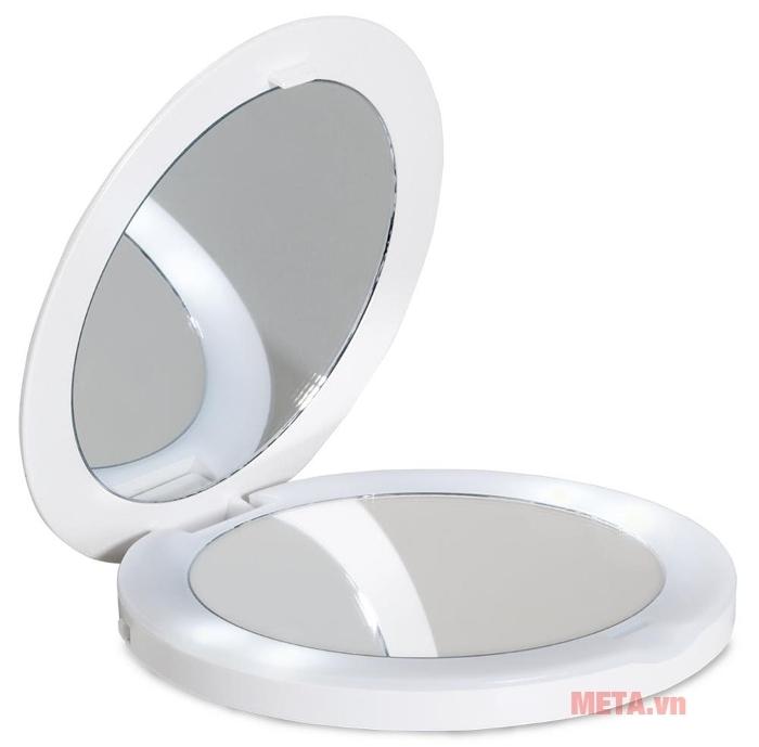 Gương trang điểm 2 mặt có đèn led Lanaform Oh Mirror LA131008 có màu trắng sang trọng.