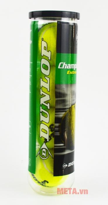 Bóng tennis Dunlop Championship Extra Duty in tên thương hiệu và logo trên vỏ hộp.