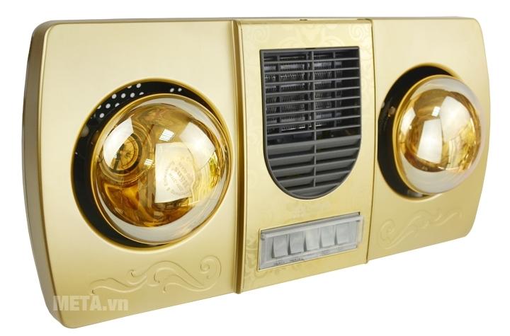 Đèn sưởi nhà tắm 2 bóng Kottmann K2B-HW-G thiết kế quạt gió ở giữa.