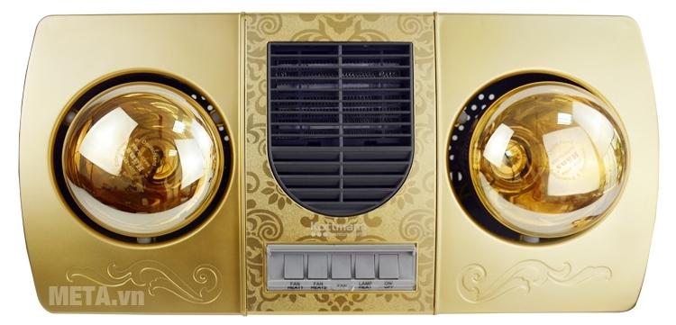 Đèn sưởi nhà tắm 2 bóng Kottmann K2B-HW-G có họa tiết hoa văn đẹp mắt.