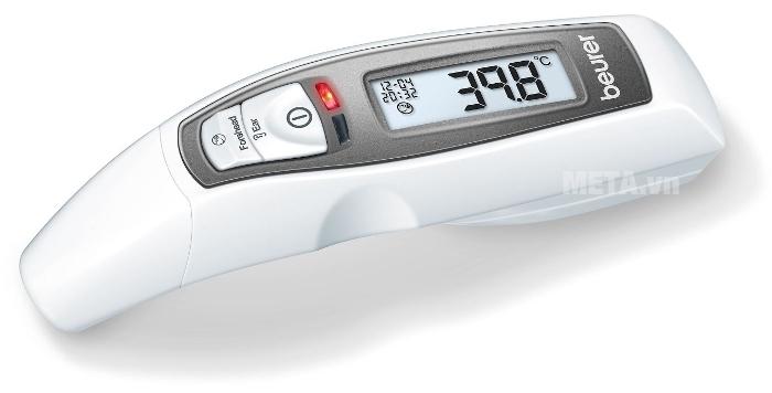 Nhiệt kế điện tử Beurer FT65 có đèn phát ra màu đỏ để cảnh báo nhiệt độ sốt cao.