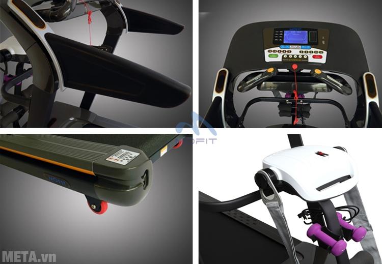 Máy chạy điện cao cấp MHT-1430M kèm theo tạ tay và đầu massage.