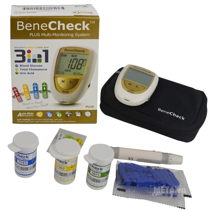 Bộ sản phẩm đầy đủ của máy đo đường huyết 3 trong 1 Benecheck Plus