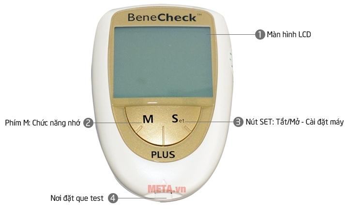 Cấu tạo máy đo đường huyết 3 trong 1 Benecheck Plus mặt trước