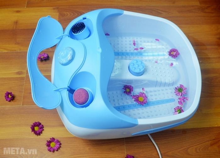 Bồn massage chân Lanaform Bubble Footcare có chỗ để đầu massage.