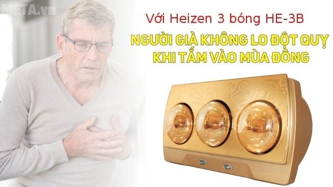Đèn sưởi nhà tắm Heizen HE-3B (Gold) được bác sỹ bệnh viện Bạch Mai khuyên dùng cho người già.
