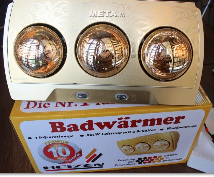 Đèn sưởi nhà tắm Heizen HE-3B (Gold) có hai công tắc riêng biệt.