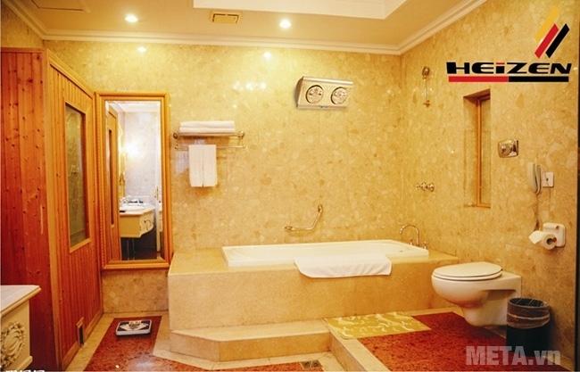 Đèn sưởi nhà tắm 2 bóng có điều khiển Heizen HE2BR lắp đặt treo tường dễ dàng.