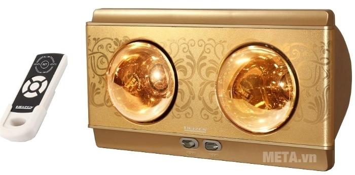 Đèn sưởi nhà tắm 2 bóng có điều khiển Heizen HE2BR có hoa văn thật sang trọng.