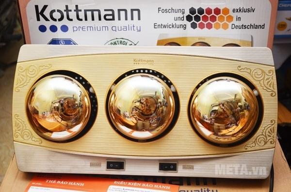 Đèn sưởi nhà tắm Kottmann 3 bóng K3BH có hai công tắc riêng biệt.