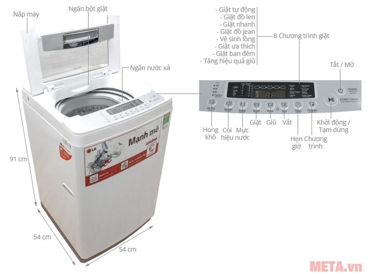 Cấu tạo của máy giặt lồng đứng LG WF-S8019BW