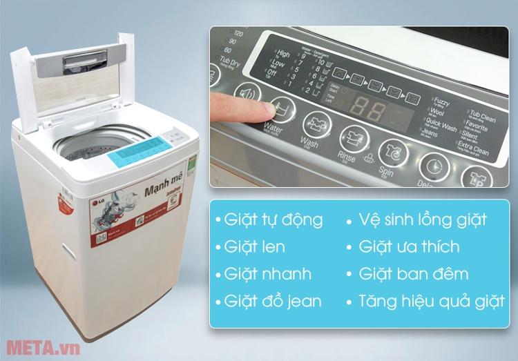 Bảng điều khiển của máy giặt lồng đứng LG WF-S8019BW
