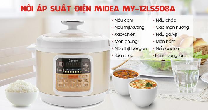 Nồi áp suất điện Midea MY-12LS508A có thể hẹn giờ trong 24 tiếng