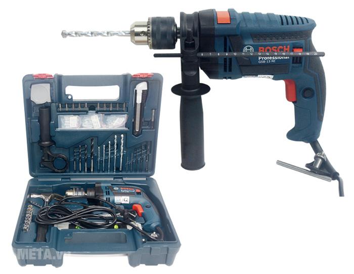 Máy khoan động lực Bosch GSB 13 RE gồm 100 chi tiết cho bạn thoải mái khoan nhiều loại vật liệu