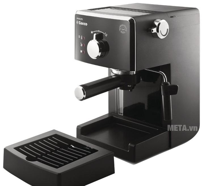 Máy pha cà phê Saeco Poemia Focus HD8423 thiết kế ngăn chứa nước thải tháo rời.
