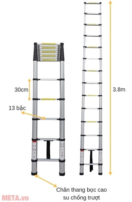 Thang nhôm rút gọn đơn Advindeq ADT212B có thể sử dụng tối đa 13 bậc hoặc ít hơn.