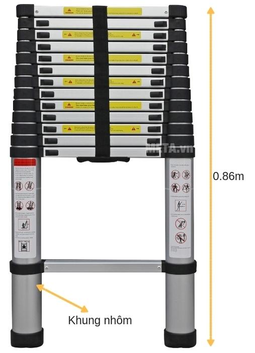 Thang nhôm rút gọn đơn Advindeq ADT212B dễ rút gọn chiều cao.