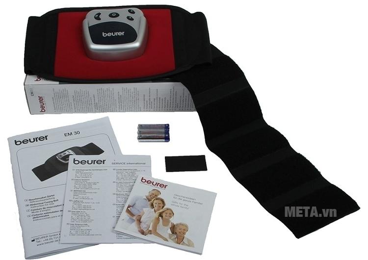Máy massage xung điện đai bụng Beurer EM30 đi kèm pin, hướng dẫn sử dụng.