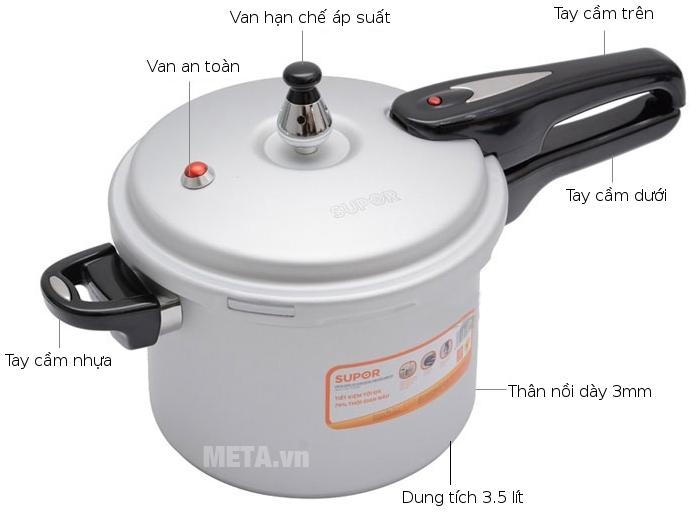 Cấu tạo của nồi áp suất oxy hóa mềm bếp điện từ Supor YL183F5