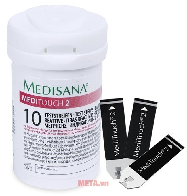 Hộp 10 que thử của máy đo đường huyết Medisana Meditouch 2