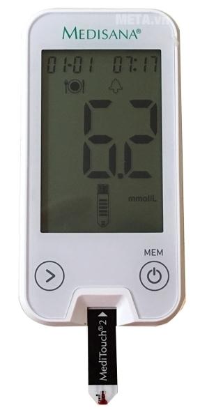 Máy đo đường huyết Medisana Meditouch 2 tự hút máu vào nên lấy lượng máu cực ít.