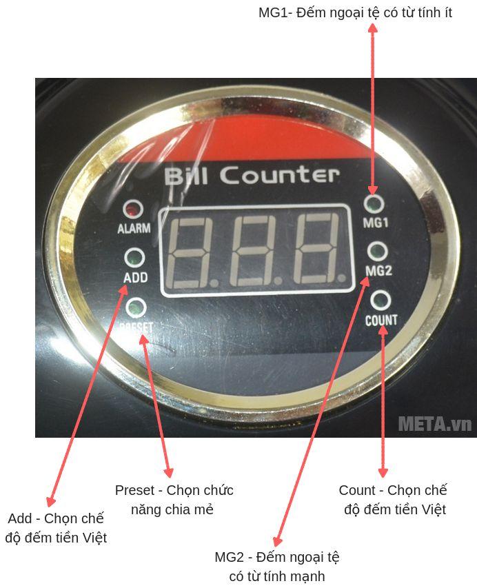 Các phím chức năng của máy đếm tiền Silicon MC-B52