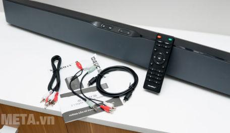 Phụ kiện đi kèm bao gồm cả dây cáp quang của bộ loa Soundbar SB-217